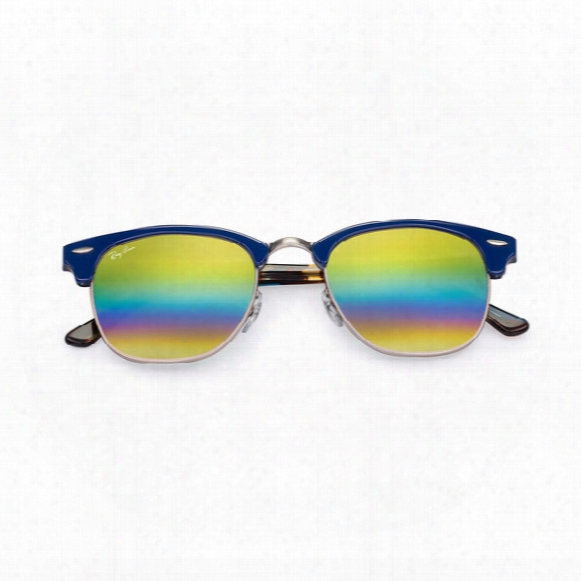 Clubmaster Sunglasses - Gold Rainbow Flash Lens