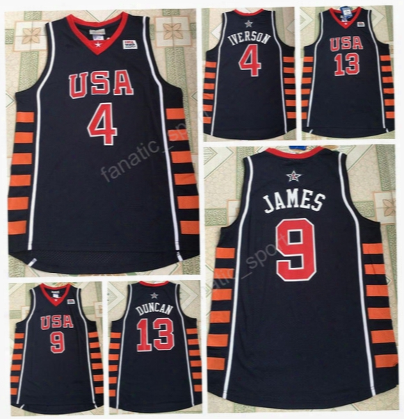 2004 Dream Usa Six Basketball Jerseys Team 6 Athens Olympic 4 Allen Iverson 21 Tim Duncan 23 Lebron James Jersey Stitched Quality