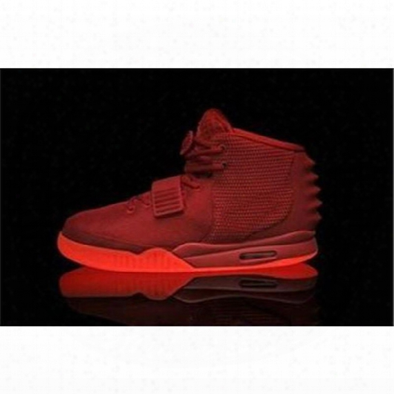 2014 Air Ii 2 Kanye West Rerto Men's Basketball Shoes Athletic Shoes Red October 10 Glow In The Dark Sneakers