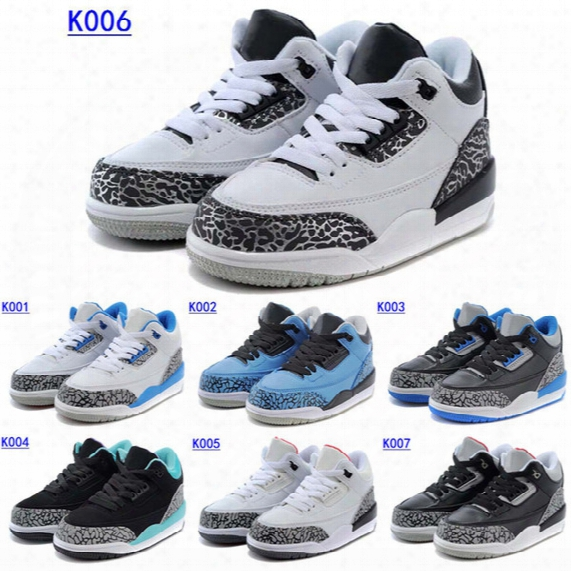 2016 Cheap Air Retro 3 Trainers Kids Basketball Shoes Wolf Grey Sport Blue Black Cement White True Blue Dark Powder Blue Sneakers Boots