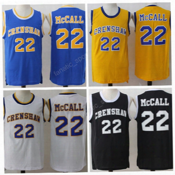 2016 Crenshaw 22 Quincyy Mccall Jersey Men Flint Tropics Semi Pro Movie Basketball Jerseys Cheap All Stitching Sports Yellow White Blue Black