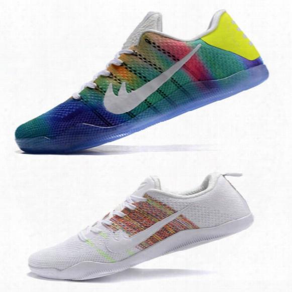 2016 Fast Shipping 1:1 Kobe Rainbow Color11 Xxi Mens Basketball Sport Footwear Low Shoes Sneaker Shoe Low-top Boy 40-46