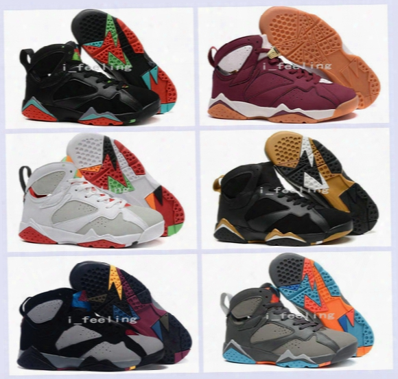 2016 New Air Retro 7 Men Basketball Shoes Hares Olympic Raptor Guyz Bordeaux Gg Cardinal Raptor French Blue Retro 7s Sport Sneakers Boots