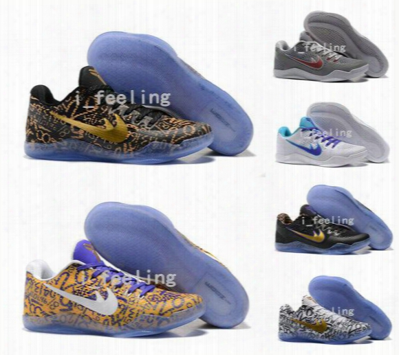 2016 New Men Kobe 11 Elite Em Mamba Day Basketball Shoes Kobe Xi Zk11 Aec Low Elite Athletic Sports Shoes Boots Black Gold With Box