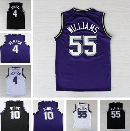 2016 Retro 10 Mike Bibby Jersey Men Rev 30 Fashion 55 Jason Williams Throwback Shirt 4 Chirs Webber Black Purple White