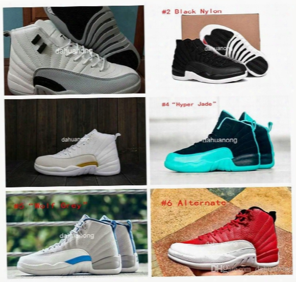 2016 Retro 12 Gs Barons Black Nylon Hyper Jade Wolf Grey Women And Mens Basketball Shoes Sneakers Eur Size 36-47