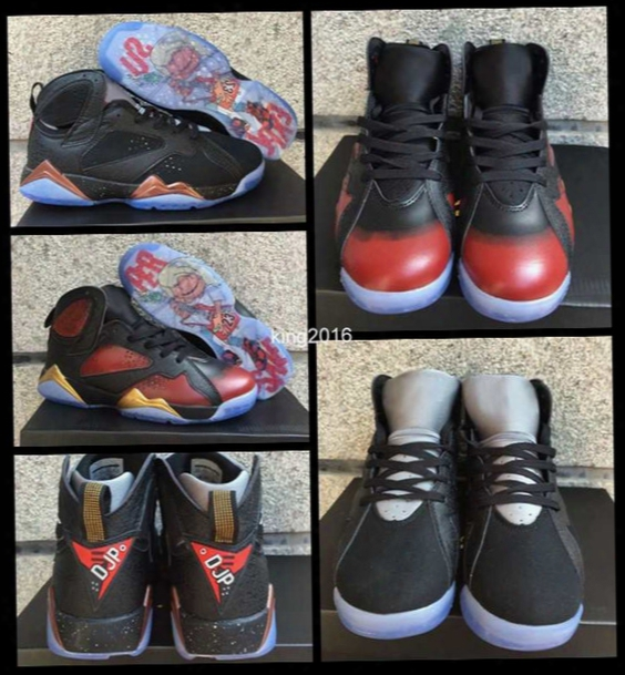2017 Air Retro 7 Vii Doernbecher Db Basketball Shoes For Men,black Bronze And Red Black Gold Mens Retros 7s Athletics Sports Sneakers