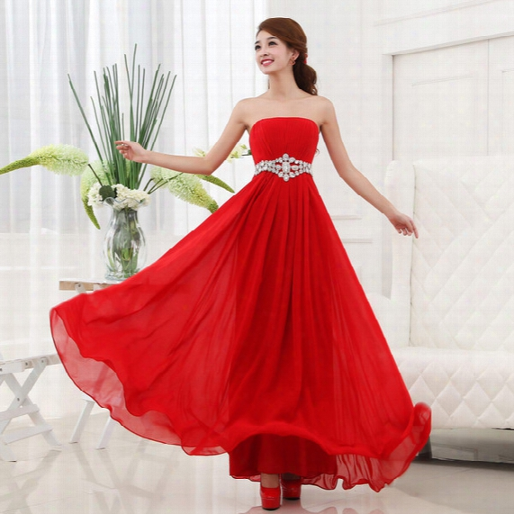 2017 Cheap Long Chiffon Bridesmaid Dress With Crystal Under 100 Pleated Strapless Party Dress For Wedding