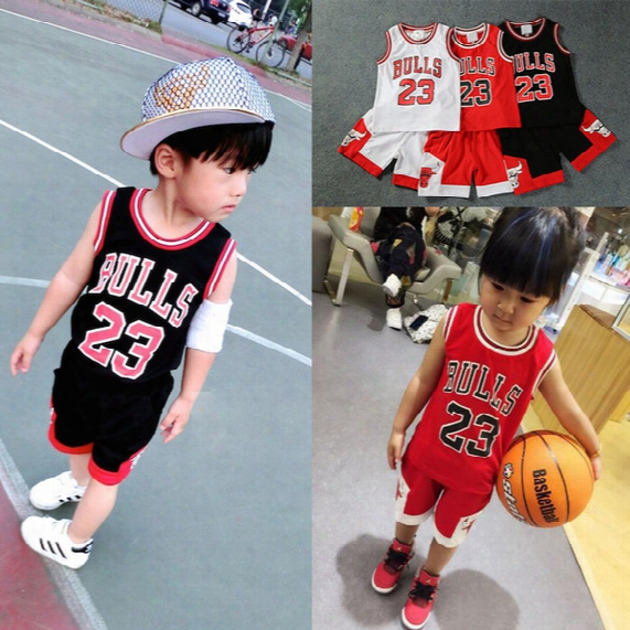 2017 Children's Clothes Baby Boys Girls Set Sleeveless Crew Neck Infant Children Clothing Vest In The Summer Basketball Sport Suit