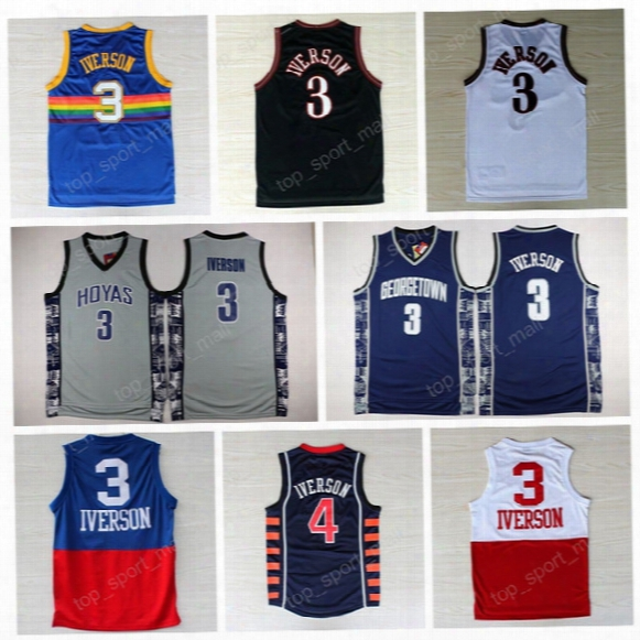 2017 College 3 Allen Iverson Jersey Georgetown Hoyas Basketball Jerseys Iverson Sports Uniforms Throwback All Stitched Blue Black White Red