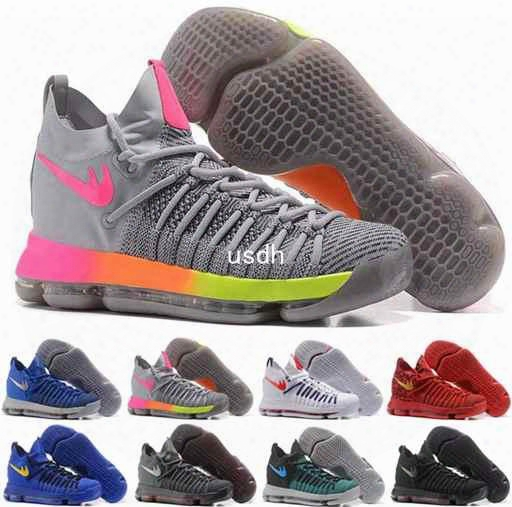 2017 Kd 9 Ix Ep Elite Basketball Shoes For Men Kevin Durant 9s Kd9 Oreo Grey Wolf Bhm Mens Trainers Sports Sneakers 40-46