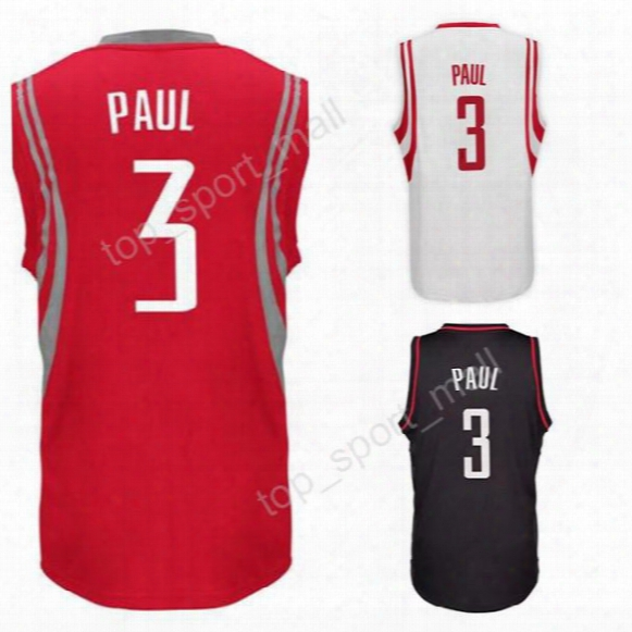 2017 Latest 3 Chris Paul Jersey Men Red Whiet Black Color Paul Basketball Jerseys All Stitched For Sport Fans Breathable Free Shipping