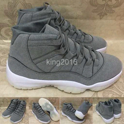 2017 New Air Retro 11 Prm Grey Suede Men Basketball Shoes Retros 11s Cool Grey Athletics Trainers Cheap Sneakers For Sale Size 8-13