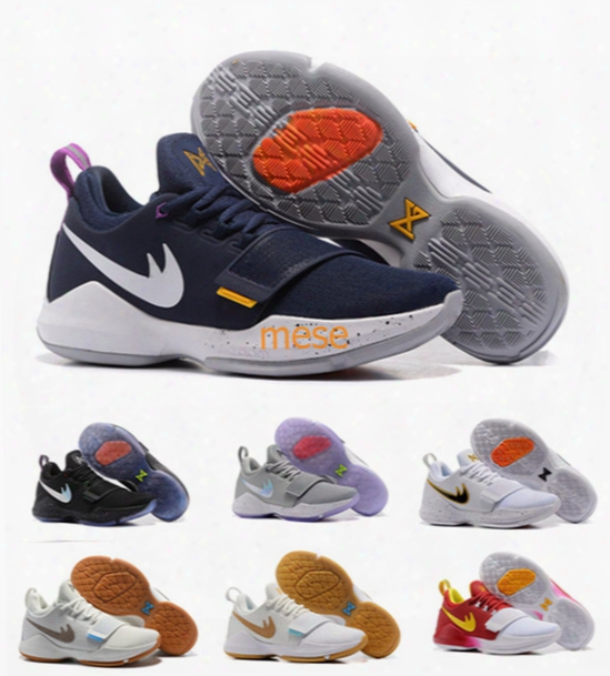 2017 New Arrival Paul George Zoom Pg1 Ferocity Glacier Grey Ivory Shining Men's Basketball Shoes Pg 1 Trainers Sneaker Free Shipping