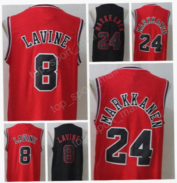 2017 New Style 8 Zach Lavine Jersey Men Black White Red Basketball 24 Lauri Markkanen Jerseys For Sport Fans All Stitched High Quality