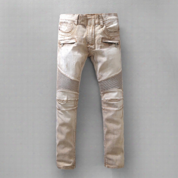 2017 Summer Men Classic Jeans Knee Drape Panel Moto Biker Jeans Brand Pairs Size Us Size