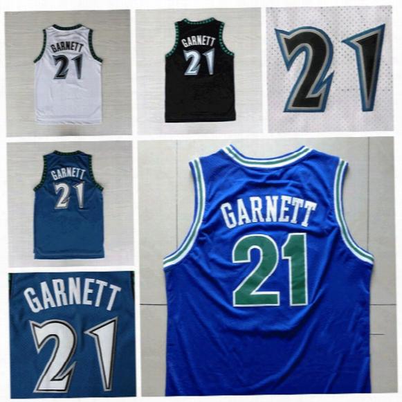 21 Kevin Garnett Jersey,#21 Kevin Garnett White Bllue Black Throwback Vintage Reto Basketball Jerseys,embroidery Lgos