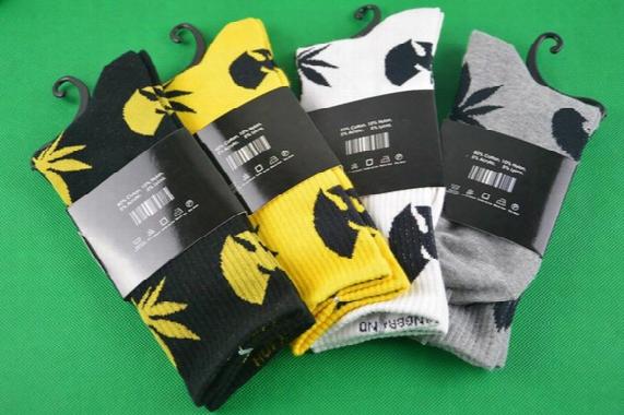 4 Pairs/lot Tide Brand Happy Cotton Socks Popular Basketball Socks Wu Tang Crew Socks