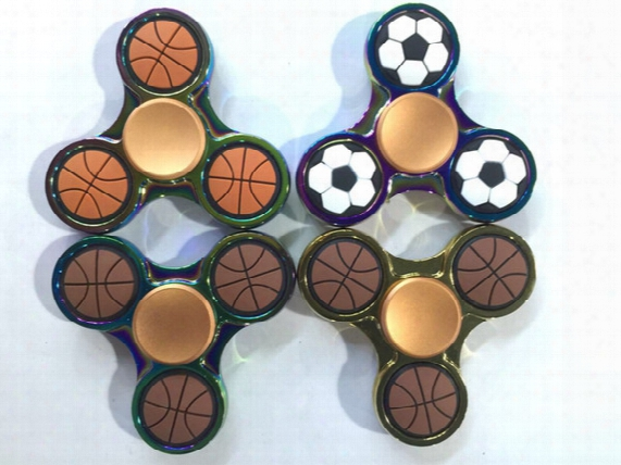 5 Minute High Quality Metal Basketball Football Edc Tri-spinner Fidget Toys Pattern Hand Spinner Metal Fidget Spinner And Adhd Adults