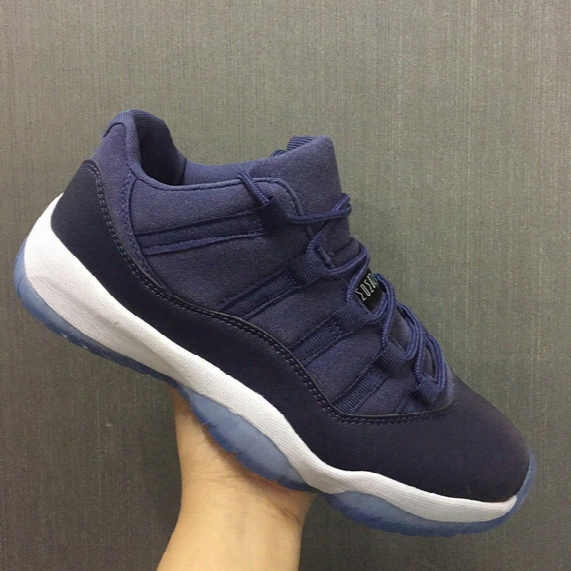 Air Retro 11s Low Blue Moon Unisex Basketball Shoes With Box Retro Xi Size Eur 36-47 Free Shipping Wholesale