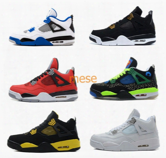 Air Retro 4 Iv Mens Basketball Shoes Motosports Royalty Bred Oreo Fire Red Sport Sneakers Shoes High Quality Us 5-13