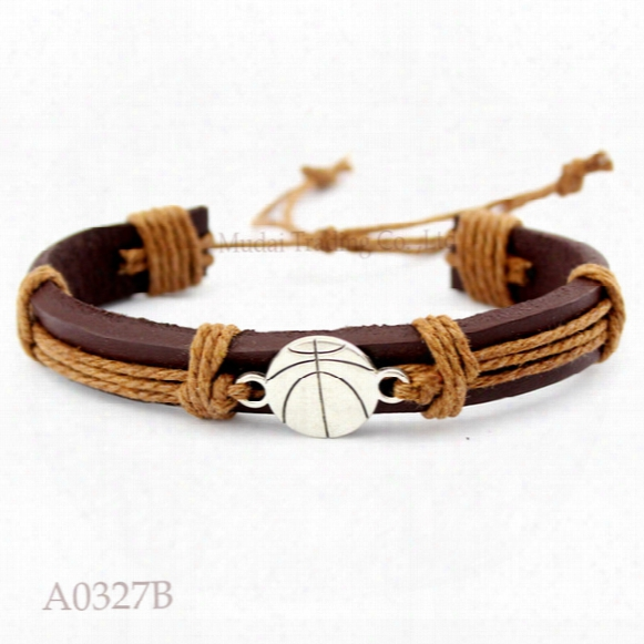 Basketball Team Adjustable Leather Cuff Bracelets Gifts For Men & Women Friendship Bangle Punk Casual Wristband Jewelry