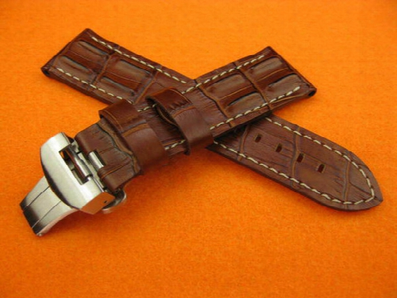 Brand New 24mm Hornback Croc Deployment Mens Watch Brown Leather Strap Bands Fit Pam Series Watches Fold Over Clasp Wristwatches
