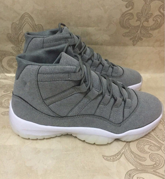 Brand Retro 11 Suede Dark Grey Wholesale Mens Sport Shoes Xi 11s Good Quality Boy Training Shoes Fashion Design Free Shipping