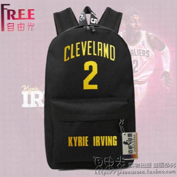 Bronzing Basketball Shoulder Bag Backpack Cavaliers 2# Kyrie Irving Schoolbags Canvas Bag Leisure Package Students Youth Bag