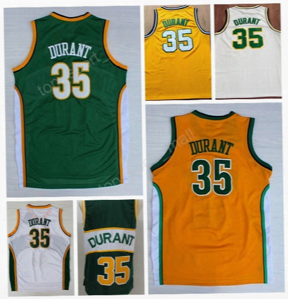 Cheap 35 Kevin Durant Throwback Jerseys Man Basketball Kevin Durant Jersey For Sport Fans Embroidery Breathable Yellow Green White Vintage