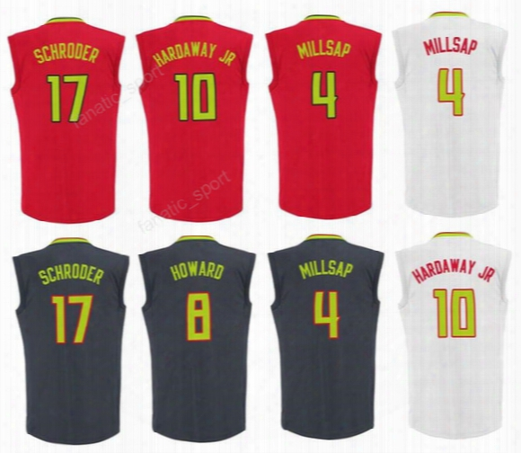 Cheap 4 Paul Millsap Jersey Men 17 Dennis Schroder 8 Dwight Howard Basketball 10 Tim Hardaway Jr. Jerseys Red Black White Free Shipping