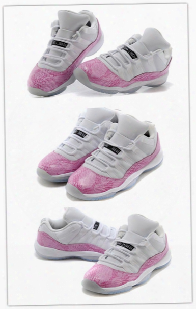 Cheap Wholesale Retro 11 Low Pink Snakeskin Womens Basketball Shoes Gs High Quality Sports Shoes Hot Sale Cheap 580521-108 Free Shipping