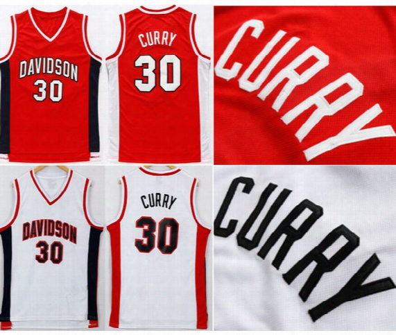 Davidson Wildcats 30 Stephen Curry College Jerseys Red White Men Basketball Stephen Curry Jersey All Stitched Top Quality On Sale