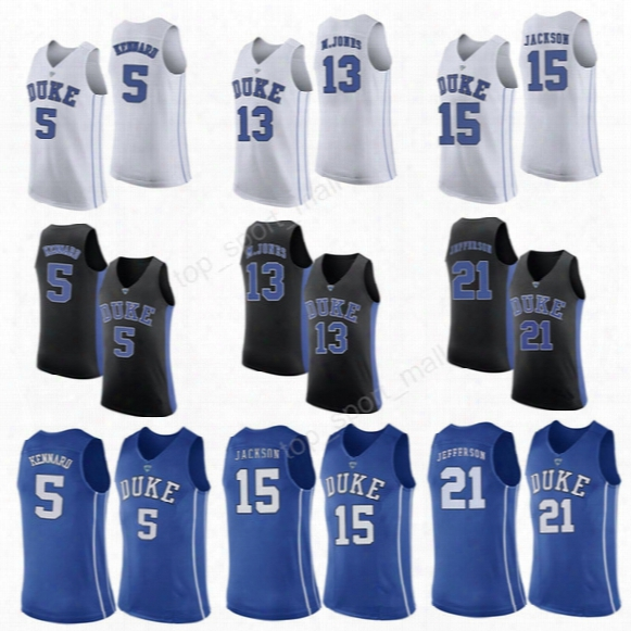 Duke Blue Devils 5 Luke Kennard College Jerseys Men Basketball 15 Frank Jackson 21 Amile Jefferson Jersey 13 Matt Jones Black White Blue