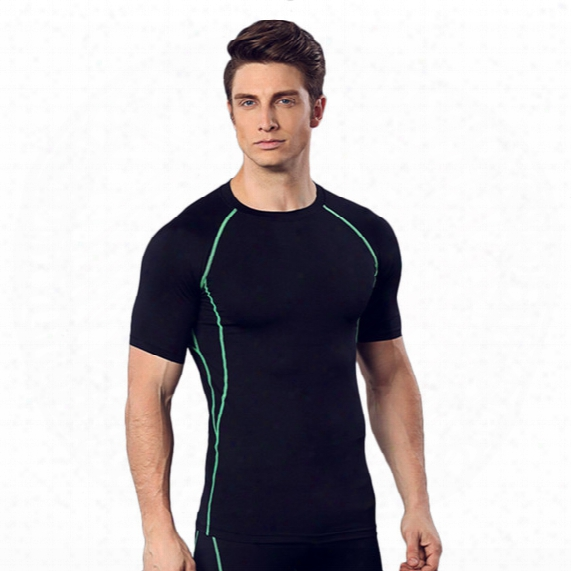 Fitness Suit Men Basketball Running Training Clothes Elastic Compression Fast Drying Sports Tights Short Sleeves