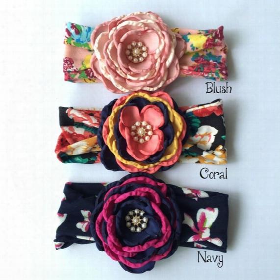 Floral Bandeau Baby Headband Matching Satin Fleur Flowergirl Bandeau Elastic Headabnd Newborn Photography Props 9pcs/lot Queenbaby