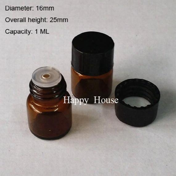 Free Shipping - 100ml X 1ml Amber Mini Glass Bottle W/t Plastic Cap, 1cc Brown Sample Vials, Small Essential Oil Bottles