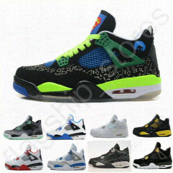 Free Shipping Cheap Air Retro 4 Men Basketball Shoes Db Green White Cement Fire Red Fear Black Cat Mens Outdoor Sports Shoes Size Us8-13