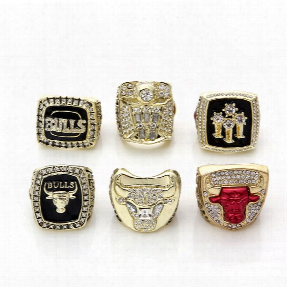 Free Shipping For 1991/1992/1993/1996/1997/1998 Whole Championship Basketball Bulls Replica Championship Rings Size 11# Gold Plated Man Ring