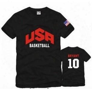 Free Shipping Usa Basketball Team Clothes Sports T Shirt American Team Basketball Short Sleeve T Shirts Unisex T Shirt 6 Color 100% Cotton