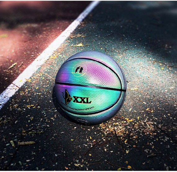 Genuine Dxxl Color Luminous Basketball Fancy Rainbow 3m Noctilucent Basketball Ball Imported Pu Leather Indoor Basketball Size 7