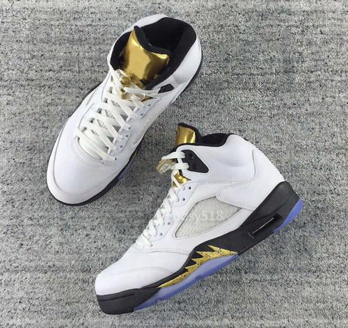 High Quality 2016 Olympic Retro 5 Og Metallic Gold 5s Gold Tongue White Black Gs Basketball Shoes Men Women Cheap Sneakers For Sale