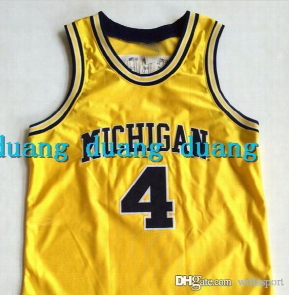 High Quality Men's #4 Chris Webber Michigan College Basketball Jerseys Throwback Navy Yellow Stitched Jerseys Customize Any Size