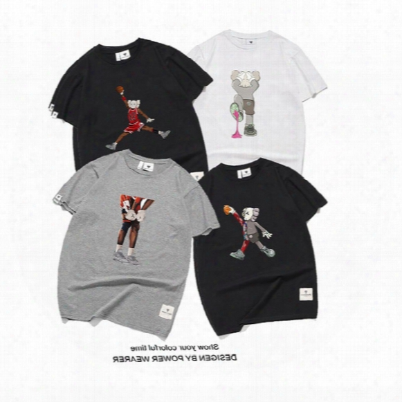 Kaws Mens Women T-shirt Summer Murals Dragonball Character Icons Print Cotton Fashion Short Sleeve Tees Tops New Robins Palace Kanyewest