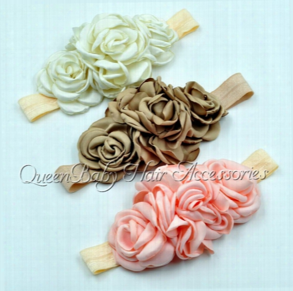 Layered Flower On Elastic Headband Baby Headband Satin Flower Headband Queenbaby Headband Luxe Headband 3colors 20pcs/lot