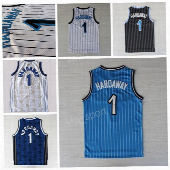 Men 1 Penny Hardaway Jersey Throwback Stitched Team Blue Black White Hardaway Basketball Jerseys Vintage For Sport Fans Excellent Quality