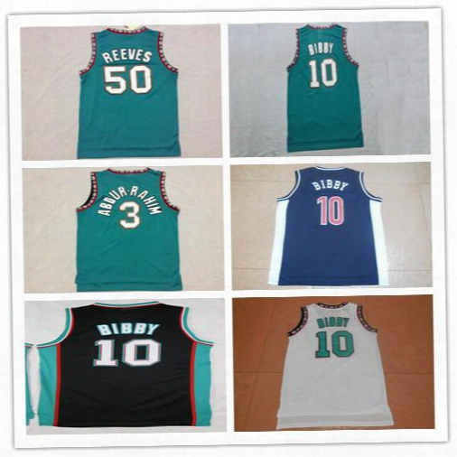 Men 10 Mike Bibby Jerseys Vancouver 50 Bryant Reeves 3 Shareef Abdur-rahim Stitched Mesh Retro Basketball Jerseys Color Team Green Mix Order