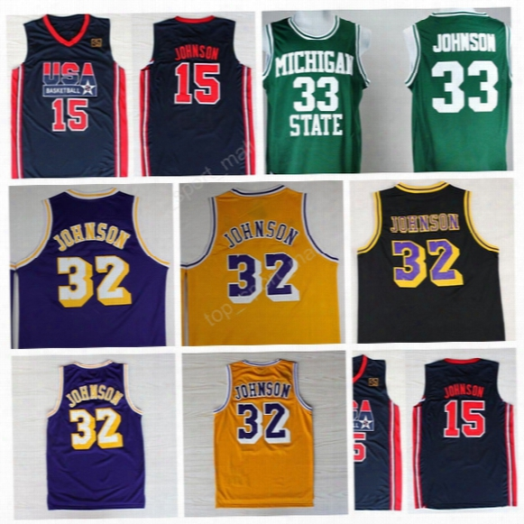 Men 32 Magic Johnson Jersey 1992 Usa Dream Team Michigan State Spartans 33 Magic Johnson Basketball Jerseys College Green White Black White