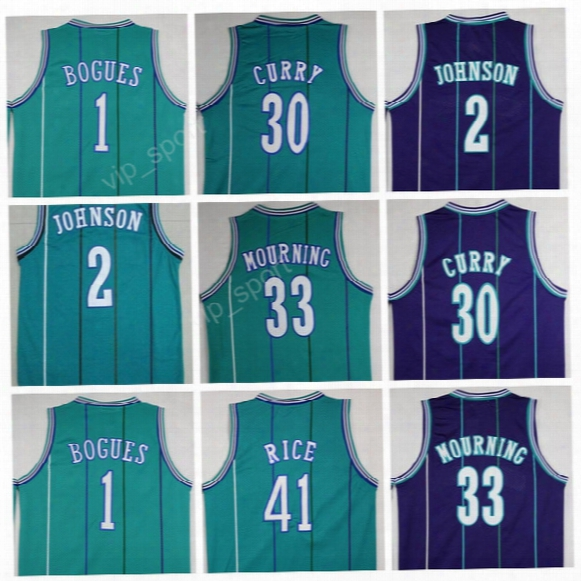 Men Basketball 1 Tyrone Muggsy Bogues Jerseys Throwback 2 Larry Johnson 30 Dell Curry 33 Alonzo Mourning Jersey 41 Glen Rice Green Purple