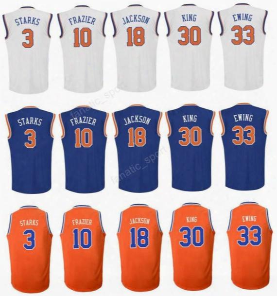 Men Printed 33 Patrick Ewing Basketball Jerseys 3 John Starks 30 Bernard King 10 Walt Frazier 18 Phil Jackson White Orange Blue Top Quality
